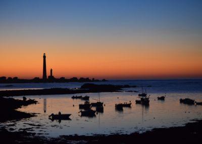 Coucher de soleil sur le phare de l'île Vierge
